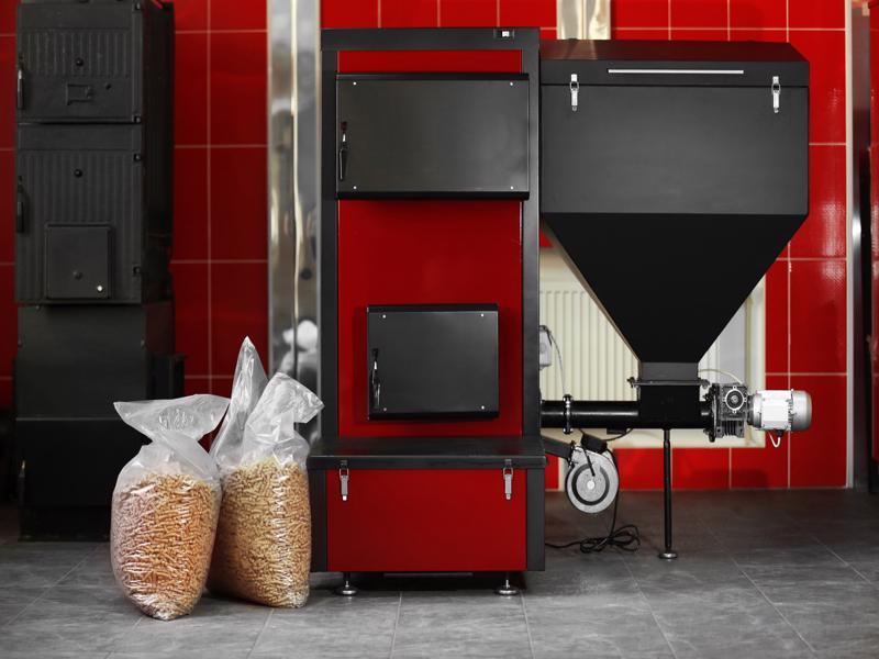 Solid-fuel,Boiler,With,Pellet-fuel,In,Boiler,Room